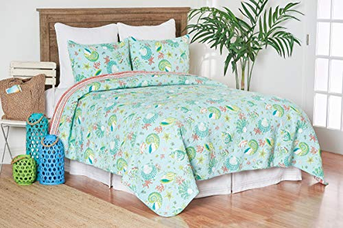 C&F Home Laguna Breeze Coastal Beach Sea Shell Coral King 3 Piece Cotton Cover Machine Washable Reversible Quilt Set King 3 Piece Set Blue