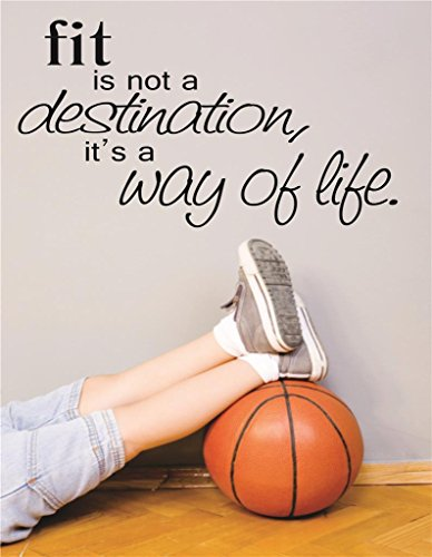 Design With Vinyl Rad V 309 3 Fit Is Not A Destination Its A Way Of Life Sports Workout Health Exercise Fitness Motivation Quote Teen Boy Girl Man Women Decal, 20&Quot; X 30&Quot;, Black