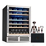 MOOSOO 24 Inch Beverage and Wine Cooler, Dual Zone Wine Refrigerator with Stainless Steel Tempered Glass Door (24 Inch/51Bottles)