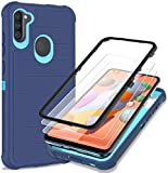 Probeetle Phone case for Galaxy A11 Case with HD Screen Protector [Drop Test ][Military Shockproof] 3 in 1 Durable Hybrid Protective PC and TPU Cover for Samsung Galaxy A11(Cobalt Blue/Glacier Blue)