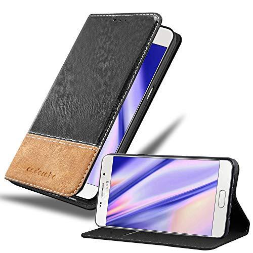Cadorabo Hülle für Samsung Galaxy A5 2016 (6) - Hülle in SCHWARZ BRAUN – Handyhülle mit Standfunktion und Kartenfach aus Einer Kunstlederkombi - Case Cover Schutzhülle Etui Tasche Book