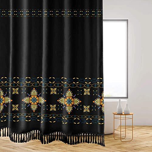 Turkish Pattern Tassel Shower Curtains for Bathroom, Black and Orange Bohemian Vintage Shower Curtain Set, with Hooks, 72 Inch Shower Curtain Decoration