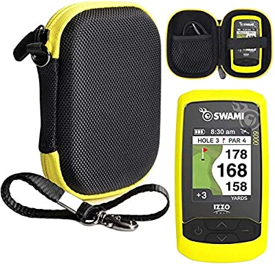Golf Course GPS Case for Golf GPS, Specially Designed for Izzo Swami 6000 Golf GPS, and Swami 4000, 4000+, 5000 Golf GPS Rangefinder; Garmin Approach G30, G6, G7 (Black with Yellow Zip)