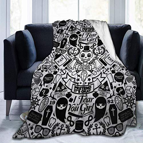 July Grappige schedel-suikerpatroon ultrazachte knuffelige microfleece deken, ideaal voor kantoor ijs in de slaapkamer
