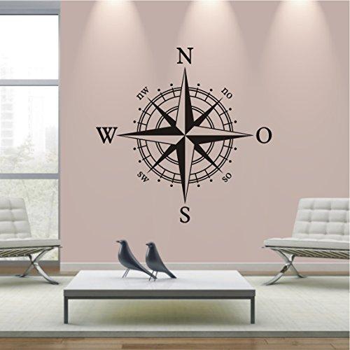 HomeTattoo ® WANDTATTOO Wandaufkleber Kompassrose Kompass Wohnzimmer Flur Deko Motiv 740 XL ( L x B ) ca. 58 x 58 cm (weiss 010)