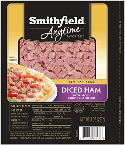 Smithfield, Anytime Fully Cooked Diced Ham, Naturally Hickory-Smoked, 0.5 lb