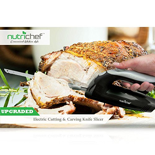 Upgraded Premium NutriChef Electric Knife - 8.9' Carving Knife, Serrated Blades, Lightweight, Ergonomic Design Easy Grip, Easy Blade Removal, Great For Thanksgiving, Meat & Cheese, Black - PKELKN8