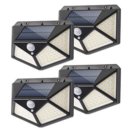 Slicoo Solarleuchten für Außen, 3 optionale Modi wasserdichte Bewegungssensor Leuchten 100 LED 270° Weitwinkel Sicherheits-Wand-Nachtlicht für Veranda, Garage, Garten, Terrasse, Zaun, Treppe (4 Pack)