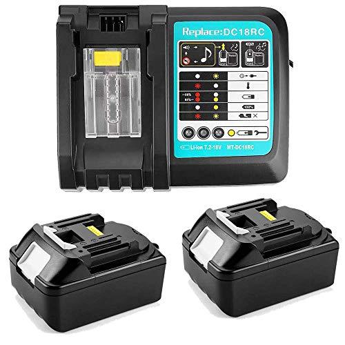 2 piezas 18 V 5,0 Ah batería de ion de litio BL1850 con cargador de 3 A repuesto para taladro percutor Makita DHR202Z DTM51Z llave de impacto DTD152Z radio de obras DMR110