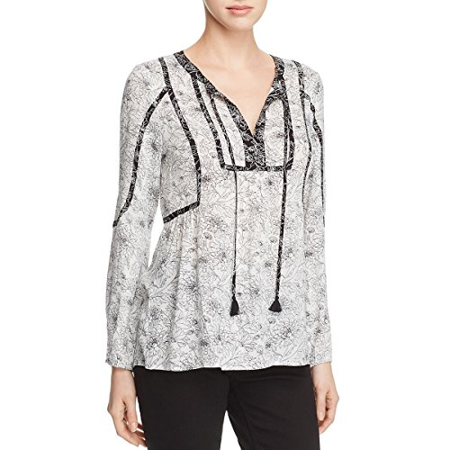 Daniel Rainn Womens Floral Print Tassle Blouse B/W XL White/Black