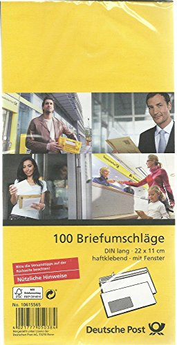 Deutsche Post 100 Umschläge DIN lang weiß haftklebend mit Fenster