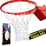 ProSlam Premium Quality Professional Heavy Duty Basketball Net Replacement - All Weather Anti Whip, Fits Standard Indoor or Outdoor Rims(Professional Standard Size, White)