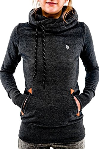 Cutiefox Women's Casual High Neck Drawstring Pullover Hoody with Pockets(Black,M)