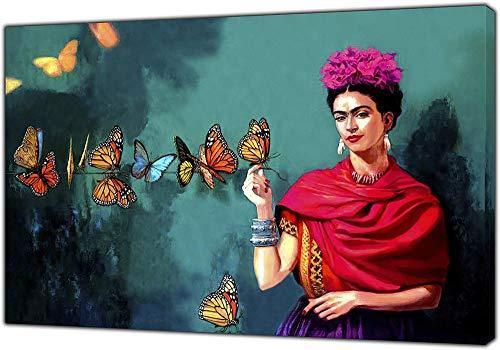 Leinwanddruck Und Poster, Frida Kahlo Und Schmetterlings-Druck Auf Leinwand-Wand-Kunst-Bild Hauptdekor Segeltuch-Anstrich Für Wohnzimmer, Schlafzimmer, Rahmenlos,70×100cm