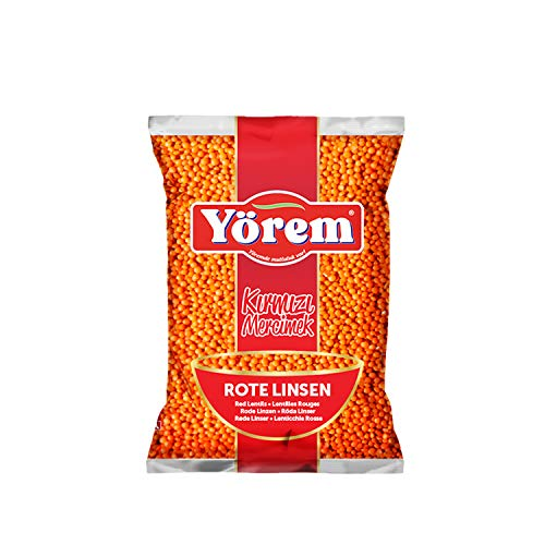 4 Packung Rote Linsen (je. 900 gr) Kırmızı Mercimek / Red Lentils / Lentilles Rouge , hoher Protein- und weniger Fettgehalt, Perfekt für die Diät, Glutenfrei & Vegan