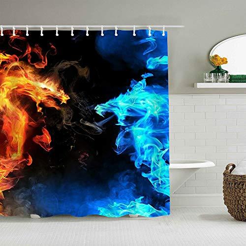 DAHALLAR Duschvorhang,Fantasy EIS & Feuerdrache,personalisierte Deko Badezimmer Vorhang,mit Haken,180 * 180