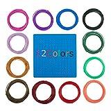 SourceTon Filamento de impresora 3D de 1,75 mm con agujas de limpieza, 24 recambios de filamento PLA de Filamento PLA (10 pies para cada color) y agujas de limpieza 3D para bolígrafo/impresora