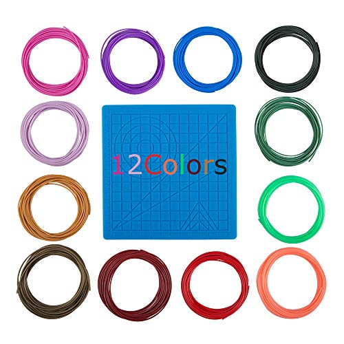 3D Printing Pen Silicone Design Mat and 12 Colors Printer Filament, SourceTon 3D Pen Mat and 1.75mm PLA Filament (10 Feet for Each Color), Set of 13