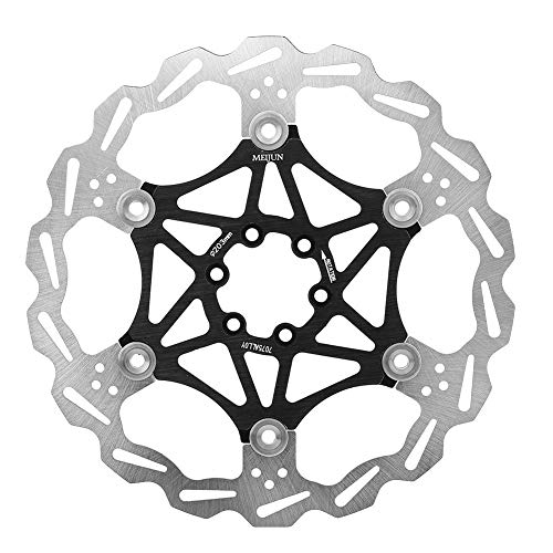 Demeras Floating Brake Disc Bicycle Brake Pad Mountain Bike Type 160/180/203mm Cycling Accessory Black Red(203mm-Black)