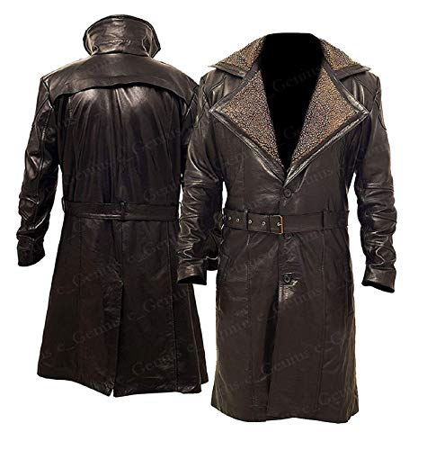 e Genius Offizier K Blade Runner 2049 Ryan Gosling Pelzkragen Leder Trench-Erbsenmantel (XL (geeignet für Brustumfang 111,8 cm bis 116,8 cm), Blade Runner 2049 braun, 100% echtes Ledermantel)
