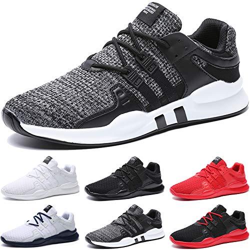 SITAILE Herren Sportschuhe Atmungsaktiv Gym Turnschuhe Leichtgewicht Laufschuhe Lace Up Freizeitschuhe Trainer Outdoor Sneaker Shoes, A Grau, 43 EU