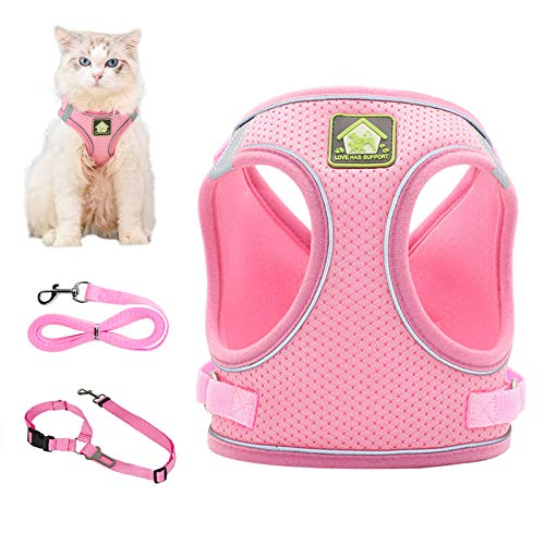Grneric Cat Harness and Leash Set with Adjustable Velcro for Escape Proof Walking, Best for Kitten Cats and Puppy Dogs (S(Chest:11.8'-13.3'), Pink)