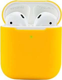 Protective Airpods Case [Front LED Visible][Supports Wireless Charging][Made of 2 Pcs] Shock Proof Soft Skin for Airpods Charging Case 1&2 (Yellow)