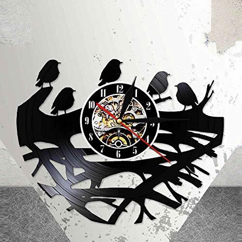 BFMBCHDJ Spring Laser Cut Wall Clock Birds Vinyl Wall Watch Bird's Nest Retroiluminación LED Diseño Moderno Slient Quartz Kid Room Decor con LED 12 Pulgadas
