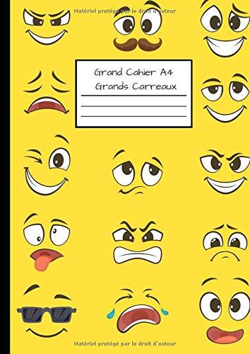 Grand Cahier A4 - Grands Carreaux: Cahier Grand Format - 110 pages Séyès - Pour Collège, Lycée, Supérieur - Couverture Souple Thème Smiley Emoticones