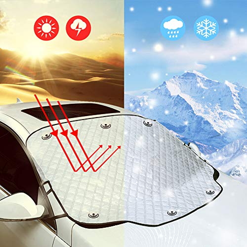 Tsumbay Windshield Snow Cover Car Windshield Ice Snow Cover with Magnetic Edges Sun Thicker 4 Layers Protection Snow Ice Frost Defense Extra Large Windshield Winter Cover Fits Most Cars and SUV