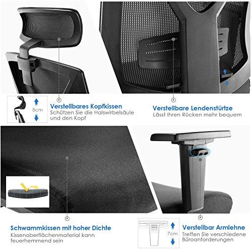 INTEY Bürostuhl Ergonomischer Schreibtischstuhl mit verstellbare Kopfstütze und Armlehnen, Höhenverstellung und Wippfunktion für Soho- oder Büroarbeit, Belastbar bis 200kg