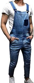 HX fashion Men's Dungarees Overall Jeans Pants Work Dungarees Jumpsuit Jumpsuit Comfortable Sizes Shorts Lightwash Suspend...