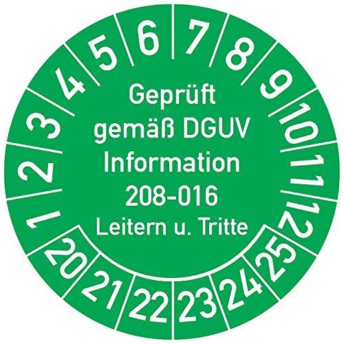 Geprüft gemäß DGUV Information 208-016 Prüfplakette, 100 Stück, in verschiedenen Farben und Größen, Prüfetikett Prüfsiegel Plakette Leitern und Tritte (ehemals BGV D 36) (30 mm Ø, Grün)