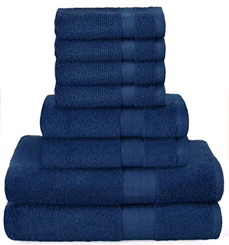 GLAMBURG Ultra Soft 8-Piece Towel Set - 100% Pure Ringspun Cotton, Contains 2 Oversized Bath Towels 30x54, 2 Hand Towels 16x28, 4 Wash Cloths 13x13 - Ideal for Everyday use, Hotel & Spa - Navy Blue