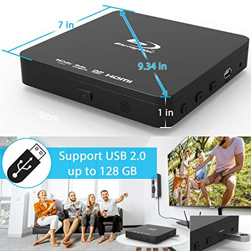 Super Mini Blu-ray Disc Player for TV,1080P Blue-ray HD DVD Player, Portable CD HD Player Home Theater Disc Player, with Remote Control + HDMI AV Cable + Built-in PAL/NTSC, Support USB Input