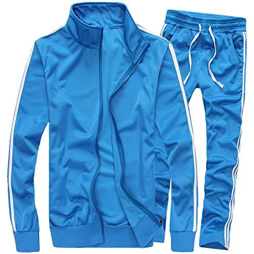 MACHLAB Men's Activewear Full Zip Warm Tracksuit Sports Set Casual Sweat Suit Light Blue XL
