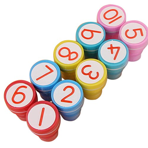 Zehui Kids Cute Plastic Self Inking Stamper Toys Baby DIY Craft 10pcs/set 1-10 Numbers Rubber Stamp Set