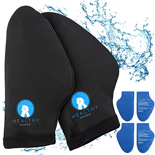 Healthy Hands Hand Ice Pack Wrap – Cold Therapy for Hands - Ice Gloves for Chemo, Neuropathy, Arthritis, Injuries and Working Hands – Includes 2 Mittens and 4 Reusable and Flexible Gel Ice Packs S/M