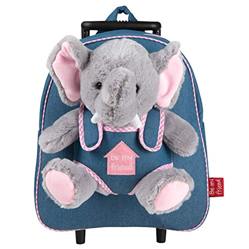 PERLETTI Carry On Backpack Plush Elephant Children 3 4 5 Years Old - Toddler Boy Girl Handbag with Removable Stuffed Soft Toy Detachable Wheels - Small Jeans Luggage for Kids - 32x28x11 cm(Elephant)
