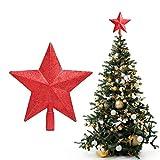BELLE VOUS Etoile Sapin Noel - Cime de Sapin 20 x 19 cm à 5 Branches Deco Noel Rouge Scintillante avec Base Tubulaire Creuse - Cimier Sapin de Noel à Paillette pour Decoration de Noel