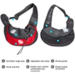 Achort Pet Carrier Hand Free Sling Puppy Carry Bag Small Dog Cat Traverl Carrier with Breathable Mesh Pouch for Outdoor Travel Walking Subway 12LB (Red) 10