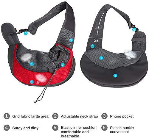 Achort Pet Carrier Hand Free Sling Puppy Carry Bag Small Dog Cat Traverl Carrier with Breathable Mesh Pouch for Outdoor Travel Walking Subway 12LB (Red) 4