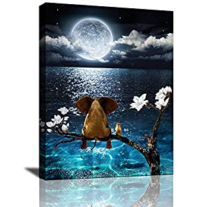 Canvas Wall Art Blue Ocean sea Animal Resting Elephant Look Moon Framed Wall Art Giclee Wall Decor on Canvas Stretched Artwork Living Room Bathroom Bedroom Ready to Hang