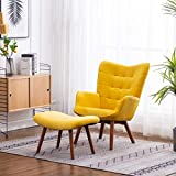 Roundhill Furniture Leiria Contemporary Silky Velvet Tufted Accent Chair with Ottoman, Yellow
