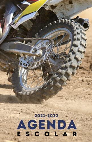 Agenda Escolar 2021-2022 Moto: Agendas 2021-2022 dia por pagina | Planificador diario para niñas y niños | Material escolar colegio secundaria estudiante | Portada motocross