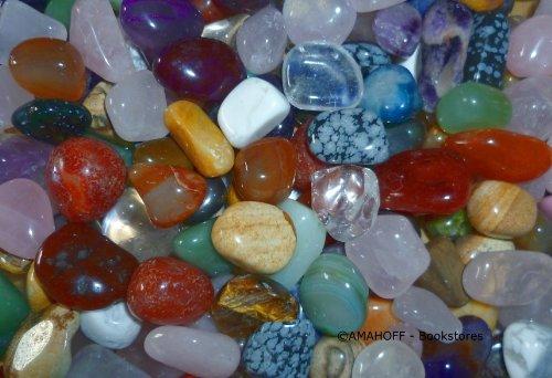 AMAHOFF Edelsteine (130-150 Stück) - 1kg Natursteine 1,5-2cm - Optimal für Spiele & Heilzwecke - inkl. Spielanleitung