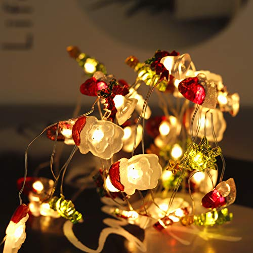 IFLOVE Christmas String Lights LED 10ft Santa Head Christmas Hat Bell Tree Decorative Lights Indoor Outdoor Lights with Dimmable Remote Control Timer for Thanksgiving Halloween Garden (Christmas)
