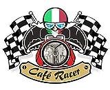 Retro Cafe Racer Ton Up Motero Diseño con Italia Il Tres Colores Bandera para Italiano Moto Vinilo Coche Moto Casco Adhesivo Pegatina 90x65mm