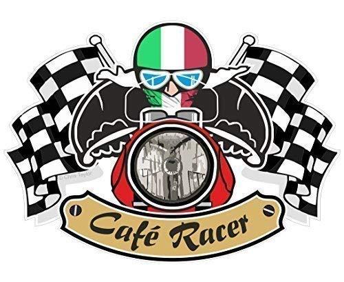 Rétro Cafe Racer Ton Up Motociclista Design con Italia il Tricolore Bandiera per Italiano Bici Vinile Adesivo Auto Moto Casco 90x65mm