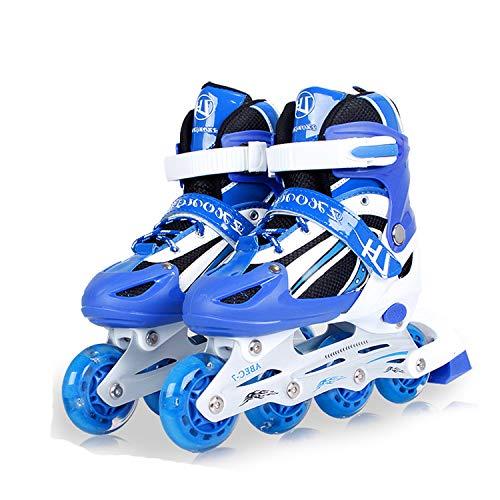 Skates kinderen mannen en vrouwen rolschaatsen Inline skater beginners 3-5-6-8-10 jaar oude kinderrolschoenen L[38 Blauw